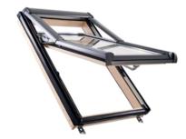 Designo R7 fenêtre de toit à ouverture par projection 38° en bois blanc et bois
